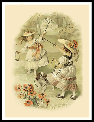 Cavalier King Charles Spaniel Girls And Dog Lovely Vintage Style Print Poster