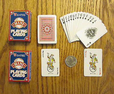2 New Decks Of Mini Playing Cards Miniture Plastic Coated Tiny Poker Card Deck