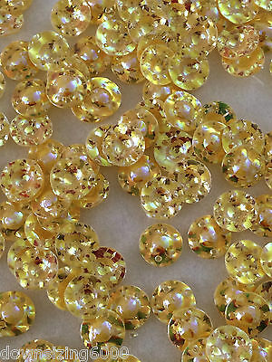 Sequins 10mm Cabochon Opal Crystal Yellow Gold 3D Rare Cup or Dome