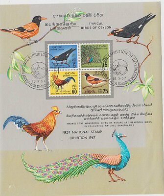 Ceylon 1967 National Stamp Exhibition bird mini sheet & commemorative postmark