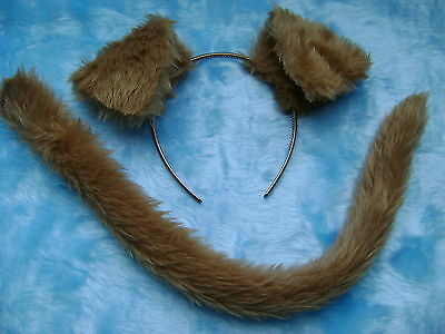 Jack Russell Dog Ears /& Tail Set White /& Tan Faux Fur Instant Fancy Dress
