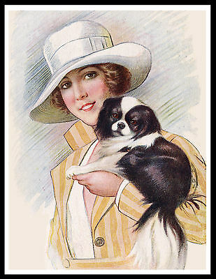 Japanese Chin Pretty Lady And Her Dog Charming Vintage Style Dog Print Poster