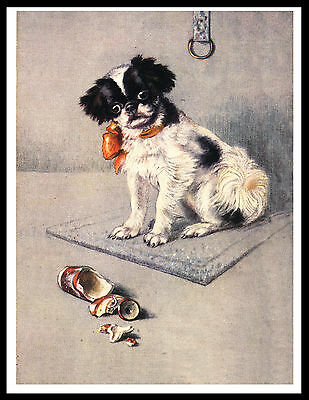Japanese Chin Puppy And Broken Vase Lovely Vintage Style Dog Print Poster