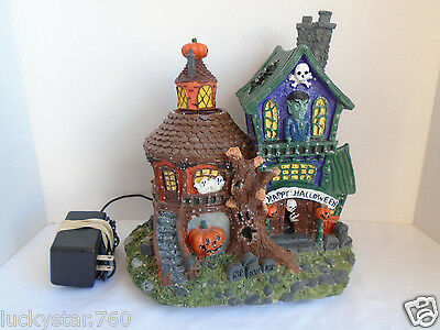 Puleo Tree Co Halloween Fiber Optic Lighted Haunted House With Pumpkins
