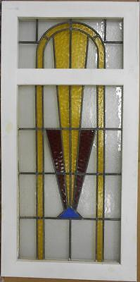 """LARGE OLD ENGLISH LEADED STAINED GLASS WINDOW Gorgeous Geometric 21"""" x 42.5"""""""