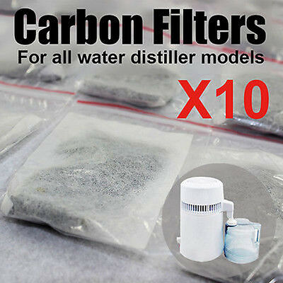 10PCS Activated Carbon Filters Packs for Dental Pure Water Distiller