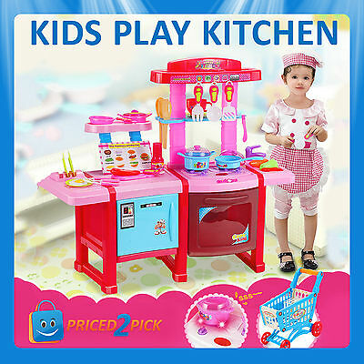 Kids Childrens Pretend Role Play Kitchen Supermarket Cooking Set Toys Food Shop