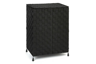 Laundry Basket Black Nylon Folding With Lid & Handle By Arpan