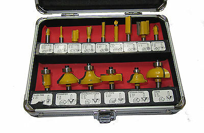 "Rdg 15Pc Router Bit Set Rotary Tool Bits Wood Working Power Tools 1/4"" Shank"