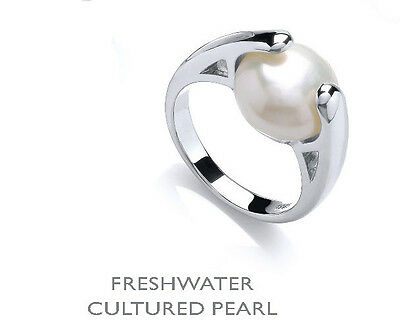 Platinum Plated Sterling Silver Freshwater Cultured Pearl Ring