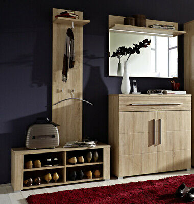 garderoben set sonoma eiche hell flurgarderobe schuhschrank bank polster paneel eur 529 00. Black Bedroom Furniture Sets. Home Design Ideas