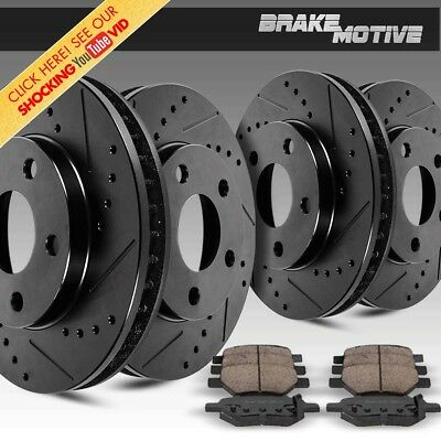 Front + Rear Black Drill And Slot Brake Rotors & Ceramic Pads For Chevy GMC