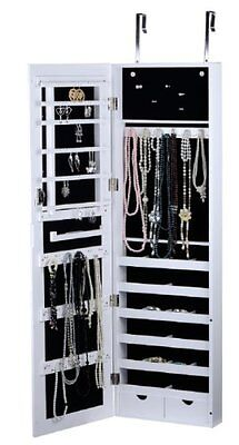 White Finish Wall/Door Mount Jewelry Armoire Cabinet - Rings, Necklaces,