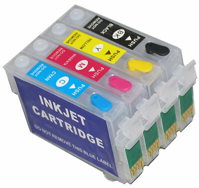 4 Refillable Ink Cartridges for Epson 127 WorkForce 635 645 840 845 WF-3520 3540