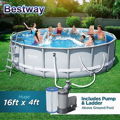 Bestway Above Ground Swimming Pool Round Metal Frame With Filter Pump 16ft