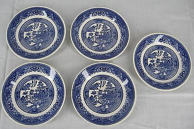 Vintage WILLOW WARE ROYAL CHINA 5 Dessert Bread & Butter Blue & White