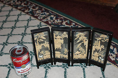 Stunning Chinese Miniature Room Divider-4 Panel-Carved Wood Artwork-Detailed