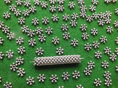 Snowflake Spacer Beads  Antique Silver - 8mm - DIY Jewellery Making & Crafts
