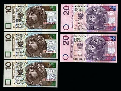 1994 Poland 2 Sets of consecutive 3x10 & 2x 20 Zlotych  GEM UNC  banknotes