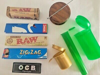 TRAPTray Bundle Has Wood Grinder, Raw Rolling Machine & 5 Packs of Zig Zag Paper