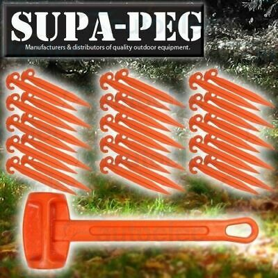 30x 370mm SUPA-PEG TENT SAND PEGS POLYPROPYLENE HEAVY DUTY ORANGE + BONUS MALLET