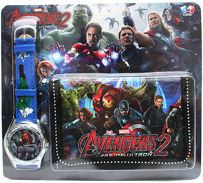 New Watch + Wallet Avengers Captain America Kids Boys Birthday Toys Christmas G