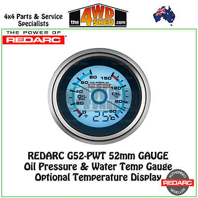 Redarc G52-PWT Oil Pressure & Water Temp Gauge 52mm Optional Temp Display