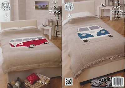 King Cole Chunky Knitting Pattern VW Camper Van Knitted Bedspread Vintage 4323