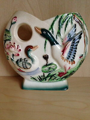 VINTAGE JAPANESE DUCK CERAMIC WALL POCKET/VASE 1940's -1950's HAND PAINTED DUCK