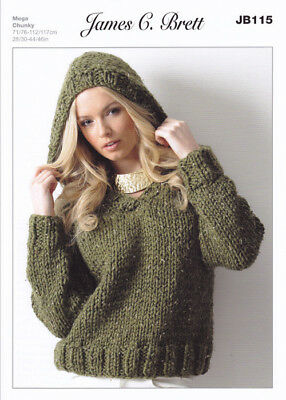 James Brett Chunky Knitting Pattern Ladies Hooded Ribbed Sweater Jumper JB115