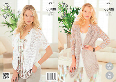 King Cole Womens Knitting Pattern Ladies Opium Easy Knit Sleeved Cardigans 3682