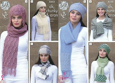 King Cole Ladies DK Aran Chunky Knitting Pattern Womens Scarf & Hat Sets 4353