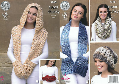 King Cole Ladies Knitting Pattern Scarves Snood Slouchy Hat Hand Warmer 4355