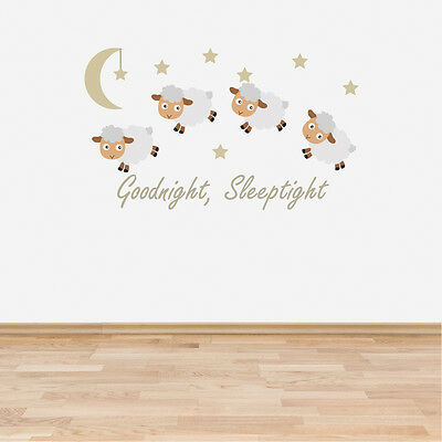 Goodnight Sleeptight Counting Sheep Neutral Wall Sticker Decal Nursery Baby Room