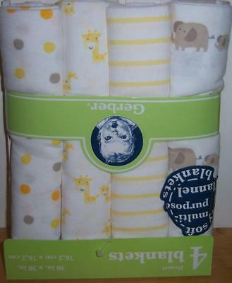New 4 Gerber Flannel Receiving Blankets, Safari Theme, Baby Shower