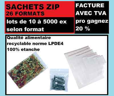 lot d'emballage  plastique fermeture ZIP Transparent 26 formats de 10 a 1000 ex