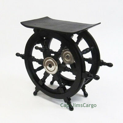 "Black Ships Steering Wheel 20"" Wooden End Table Nautical Pirate Decor New"