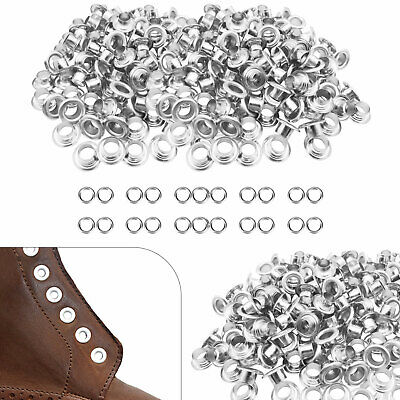 100 Eyelet Grommets in 4mm inner Hole in Silver Leather Craft Scrapbook