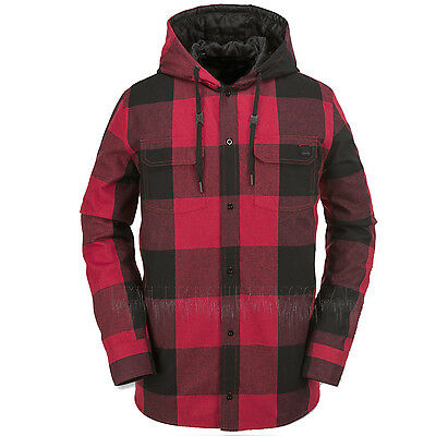 VOLCOM Mens 2016 Snowboard Red Plaid BURL INSULATED FLANNEL Layering JACKET