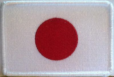 JAPAN Flag Patch  with VELCRO® brand fastener Military  Tactical White Border