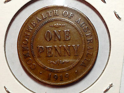 Australia 1919 Better Grade Brown One  Penny Beautiful Coin