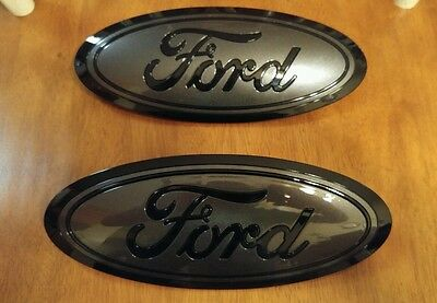 2015-16 Ford F150 GRILL and TAILGATE emblem CUSTOM GLOSS magnetic & black PAIR