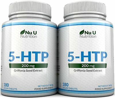 5HTP 200mg Supplement 2 Bottles 360 tablets 100% Money Back Guarantee by  Nu U