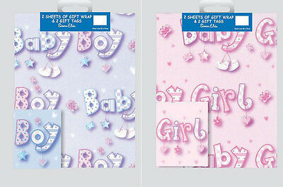Simon Elvin - 2 Sheets of Gift Wrap and 2 Gift Tags - Baby Girl Pink  Boy Blue