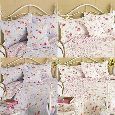 Paoletti Honeypot Lane Floral Woven 100% Cotton Quilted Pillow Sham