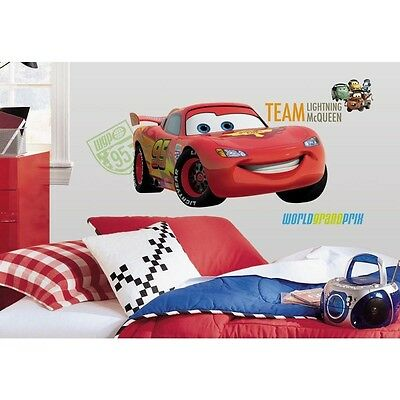 """Disney Cars 2 GIANT LIGHTNING MCQUEEN WALL DECALS 39"""" Mural Stickers Room Decor"""