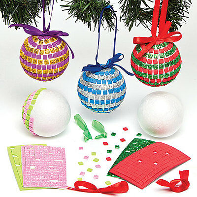 Christmas Mosaic Bauble Kits for Children to Make and Decorate (Pack of 4)
