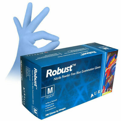 5 Boxes (500) GLOVES AURELIA ROBUST BLUE NITRILE Powder & Latex FREE Disposable