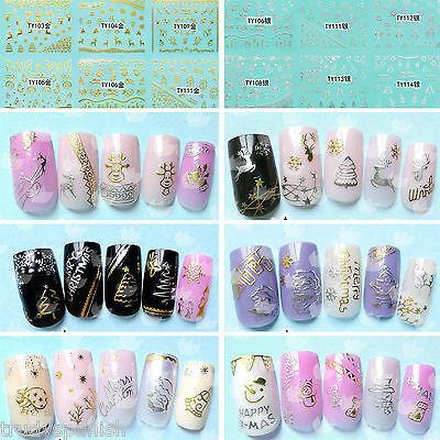 Christmas Nail Art Stickers Decals Metallic Gold Silver 3D Snowflakes Bows
