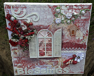 Original, Mixed Media 12 x 12 Canvas entitled Blessings' - UK p&p inc